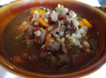 Mom's Beef Barley Soup Recipe