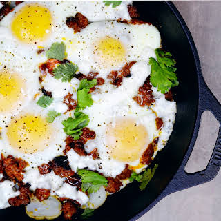 Chorizo, Potato, and Oaxaca Egg Skillet Bake.