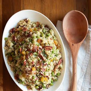 Quinoa Salad with Peas, Bacon & Golden Raisins.
