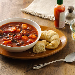Slow-Cooker Sausage, Sweet Potato, and Black Bean Soup.