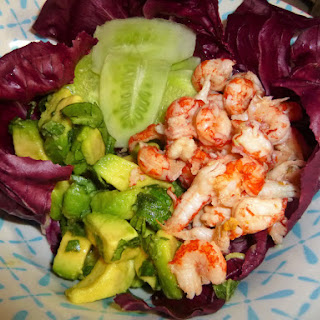 Crayfish, Avocado and Pickled Cucumber Salad.