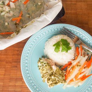 Halibut 'en papillote' with an Asian salsa verde