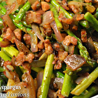 Sauteed Asparagus with Bacon and Onions.