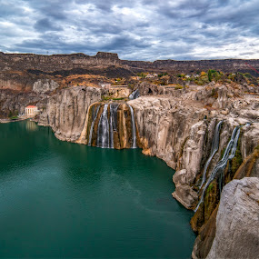 Shoshone Falls by Evan Jones - Landscapes Waterscapes ( plant, rock, scenery )