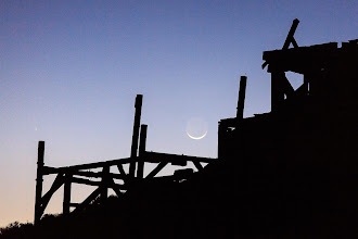 Photo: Comet PANSTARRS and the crescent moon setting by an old mining structure in Death Valley National Park. This was when it first became visible to the left of the moon on March 12. I have more comet photos and a time-lapse video coming soon.
