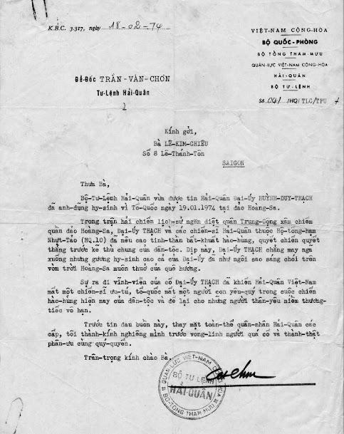 Danh sách 75 Anh Hùng Hải Quân Việt Nam Cọng Hòa Hi Sinh Trong Trận Hải Chiến Hoàng Sa 19.1.1974