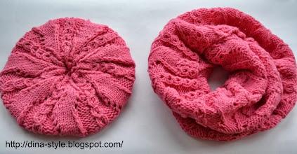 Photo: женская вязаная шапочка -берет  и шарф Серебро (повтор в розовом цвете)