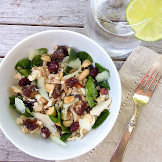 Farro And Chicken Salad With Dates And Cranberries.