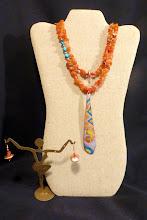 Photo: #145 GENTLE VIGOR ~ НІЖНА СНАГА - copper enamel pendant, carnelian, shell, copper $115/set