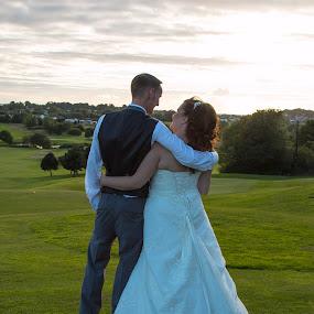 Together forever by Matt Stevens - Wedding Bride & Groom ( love, sunset, bride, groom, fields )