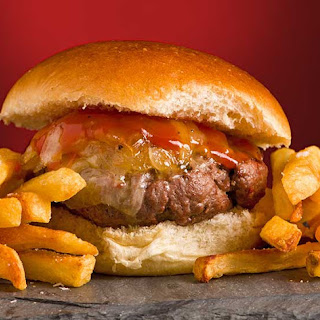Vermont Cheddar Burgers with Warm Maple Ketchup Recipe