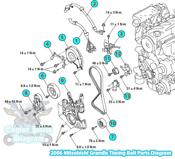 2006 Mitsubishi Grandis Timing Belt Parts Diagram 4g69 2 4 L Engine on eclipse power steering