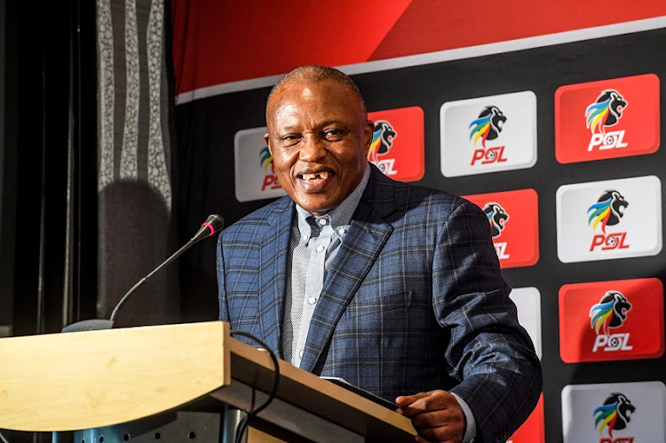 Irvin Khoza (chairman) of the PSL during the Premier Soccer League press conference at PSL Headquarters on April 09, 2019 in Johannesburg, South Africa.