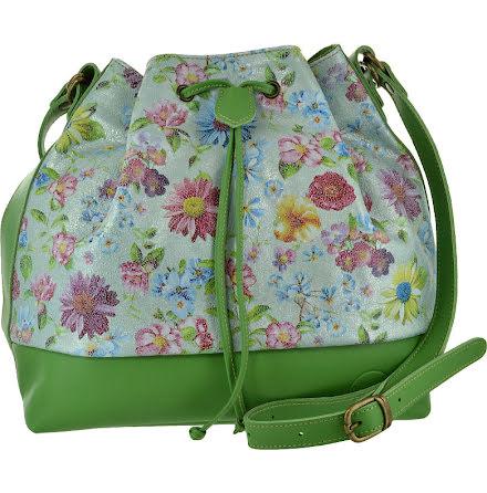Säckväska ängsblommig grön med blommigt foder