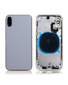 iPhone XS Back Housing without logo High Quality Silver