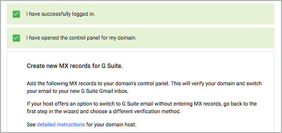 Create new MX records for G Suite step