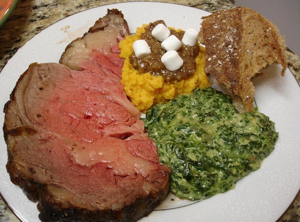 And, on the table with sides!  Perfectly rare prime rib!