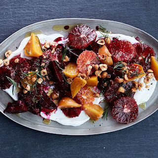 Blood Orange and Roasted Beets with Yogurt, Tarragon, and Hazelnuts.