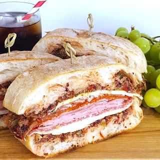 Pressed Muffuletta Sandwich for a Crowd.
