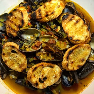 Chorizo and Saffron Mussels.