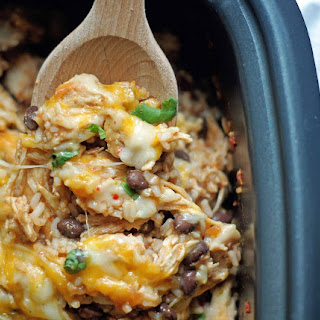 Slow Cooker Spicy Chicken & Rice.