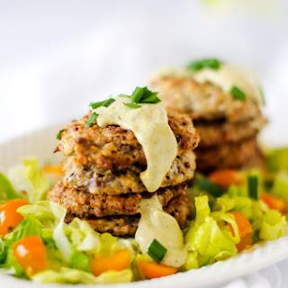 Cauliflower Quinoa Fritters with Chive Tahini Sauce