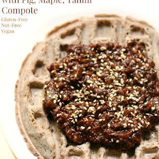 Buckwheat Waffles with Fig, Maple, Tahini Compote.
