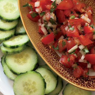 """Tomato Salsa with Cucumber """"Chips""""."""