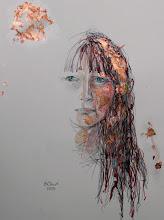 "Photo: Mirrorless Self-Portrait Series, sketch 1, 28.5cm x 42cm, 11 1/4"" x 16 1/2"", graphite, watercolour pencils, Cretacolor aquastics, copper leaf in a Moleskine A3 Sketchbook."