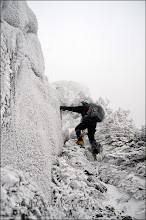 Photo: Kevin walking up the ramp on the right-hand side of the arete.