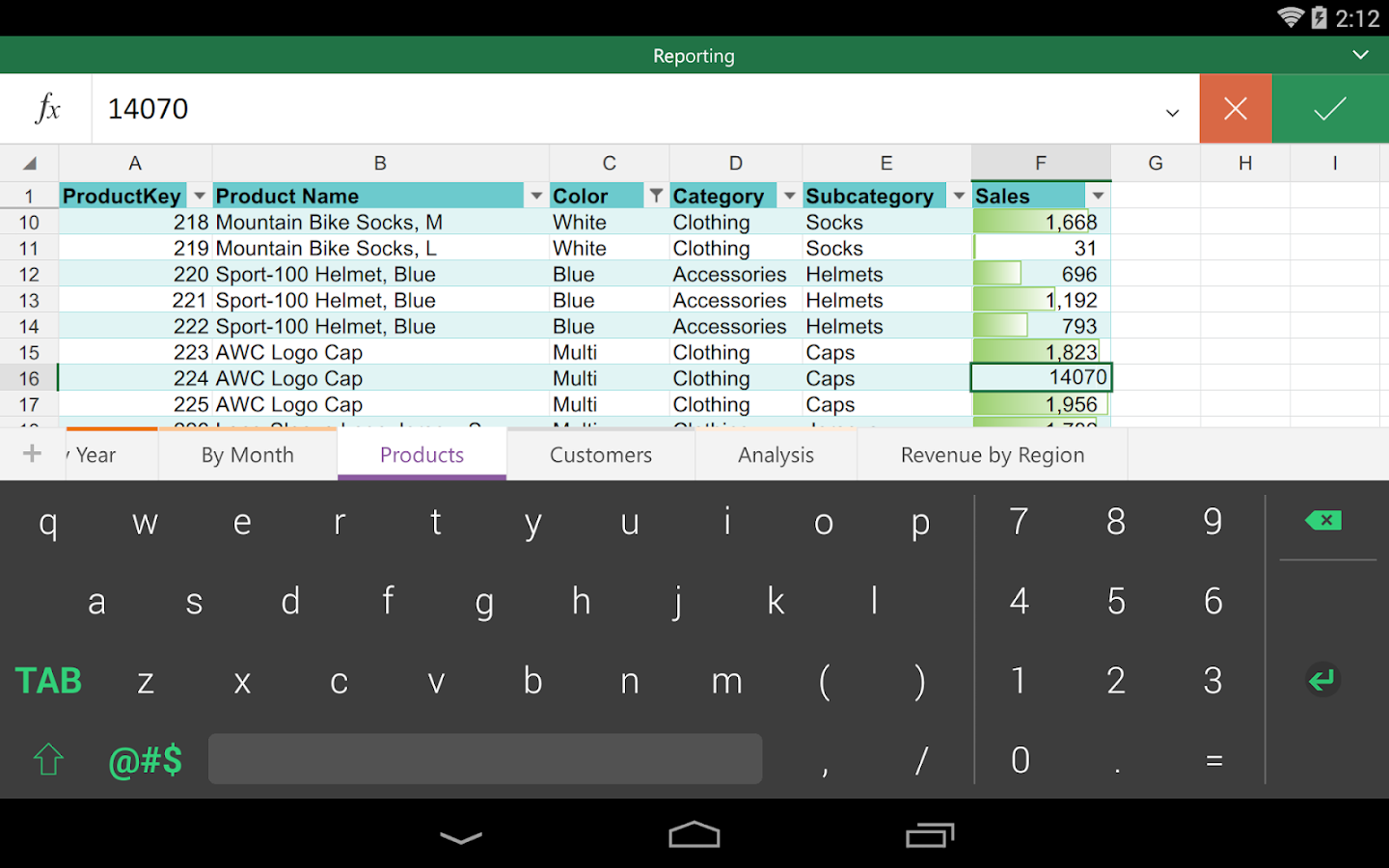 Keyboard for Excel: captura de pantalla