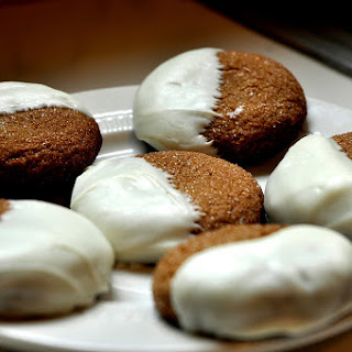 White Chocolate Dipped Molasses Cookies