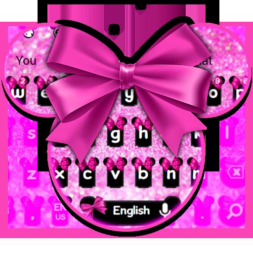 Glossy Pink Bow Keyboard Theme