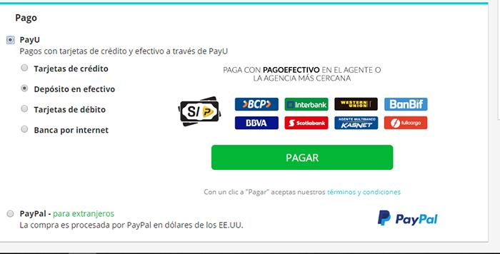 Opciones de pago de pasajes en bus por Recorrido.pe