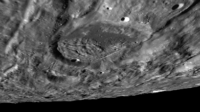 Photo: Rippling landforms surrounding Fényi crater on the lunar far side.