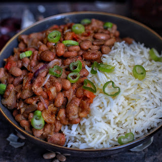 African Stewed pinto beans with rice.