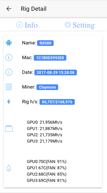 Rig Controller (Mining Rig Remoter)- screenshot