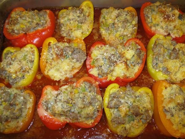 Cornbread-sausage-stuffed Bell Peppers Recipe