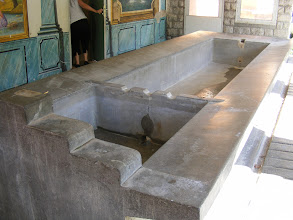 "Photo: The ""bateau lavoire"" clothes washing basin (named for its boat-like shape) is said to still be in use."