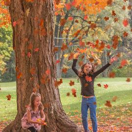 Playing With Leaves by Sue Matsunaga - Babies & Children Children Candids
