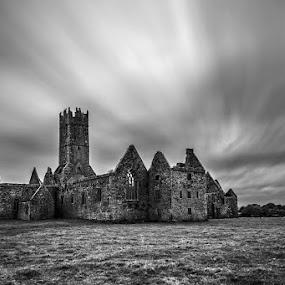 Ross Erilly (Ireland) by Evžen Takač - Travel Locations Air Travel ( b&w photography, ireland, cestle, ruins, travel, ross erilly )