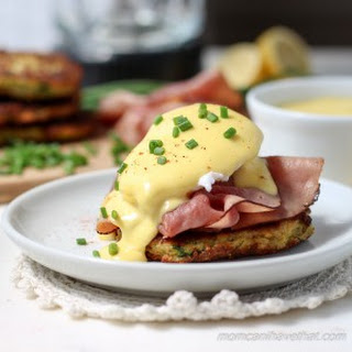 Zucchini Fritter Eggs Benedict with Proscuitto & Tomato