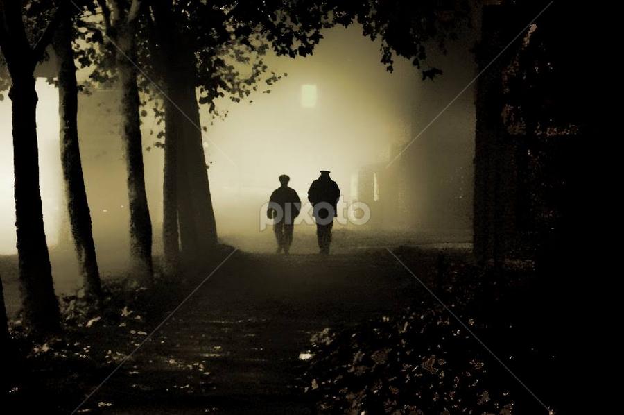 Cold night by Igor Vasiljevic - Professional People Law Enforcement ( two, policeman, winter, fog, cop, d90, street, night, nikon, people,  )
