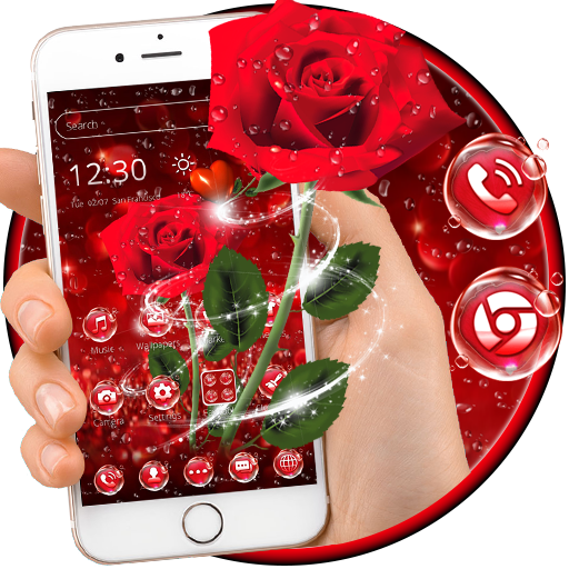 Red Rose Waterdrop Theme