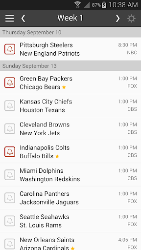 Football NFL Schedules 2015