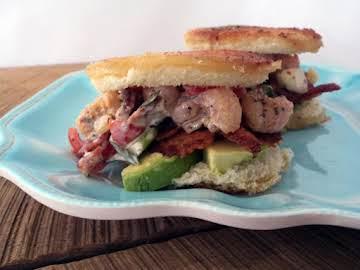 Bacon Shrimp & Tomato Salad on Garlic Bacon Toast