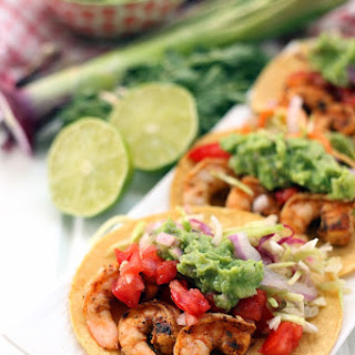 Spicy Grilled Shrimp Tacos with All The Fixins!.