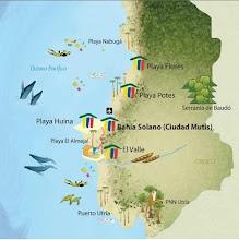 Photo: Mapa de Bahía Solano y sus alrededores: El Almejal, El Valle, Utría; ...  http://www.posadasturisticasdecolombia.com/destino/bahia-solano-colombia/