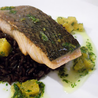 Crispy Skin Salmon with Black Rice and Orange Gremolata