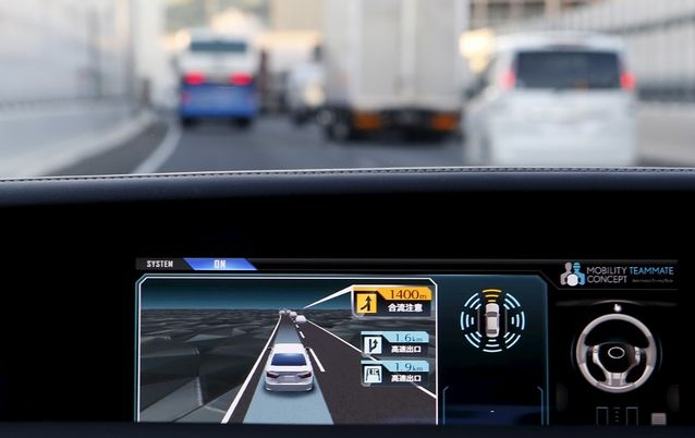 An onboard display monitor in a self-driving car. Picture: REUTERS/YUYA SHINO